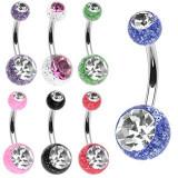 Piercing pentru buric cu sclipici şi zircon - Culoare zirconiu piercing: Transparent - C