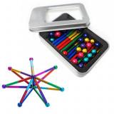 Set Puzzle Antistres XL cu Bile si Bete magnetice, 126 piese, multicolor, Palmonix