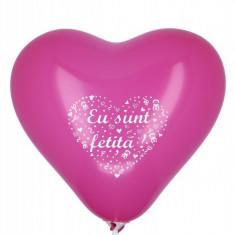 10 Baloane botez inimioare fuchsia 30cm imprimate Eu Sunt Fetita