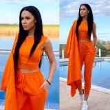 Compleu dama ieftin portocaliu compus din pantaloni lungi + maieu + cardigan lung