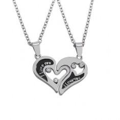 Set Medalioane Lantisoare Inima - Indragostiti I Love You