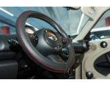 Husa volan Artisan , Handmade, din piele sintetica, diametru 37-39 cm , Neagra cu cusatura rosie, Sumex