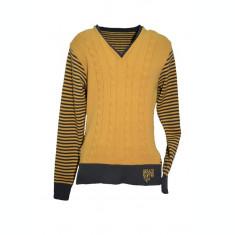 Pulover modern, de culoare galbena, cu maneci lungi si desgin dungat