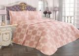 Cuvertură de pat Valentini Bianco din brocard, model Amore Roz