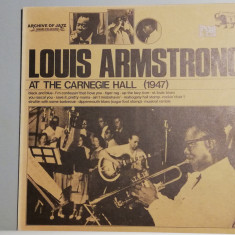 Louis Armstrong – At The Carnegie Hall (1974/Jazz Line/Italy) - Vinil/Impecabil