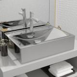 Cumpara ieftin Chiuvetă cu preaplin, argintiu, 60x46x16 cm, ceramică