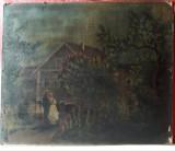 Scena romantica , anul 1921, pictura veche in ulei pe carton