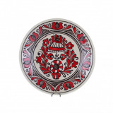 Farfurie traditionala ceramica rosie de corund 19 cm | Invie Traditia