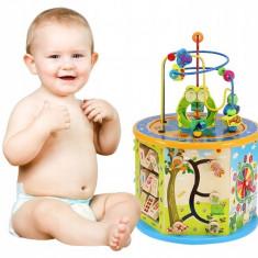 Cub Educativ pentru Copii din Lemn cu Accesorii si Diferite Activitati, Multicolor