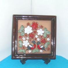 Placheta basorelief ceramica emailata - Mugurari - semnata Ingegard, GABRIEL