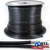 Cablu coaxial RG59 cu alimentare 75R 1x0.81mm cupru +128x0.12mm CCA / 6mm PVC negru Well