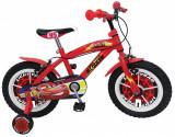 "Bicicleta pentru baieti Cars 14"", cadru din otel, roti pneumatice si roti ajutatoare, Stamp"