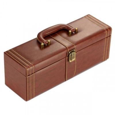Geanta cadou tip cufar pentru vin, model Vintage cu maner si accesorii incluse foto
