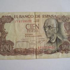 MDBS - BANCNOTA SPANIA - 100 PESETAS -1970