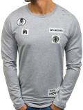 Bluză fără glugă cu imprimeu pentru bărbat gri Bolf 0745