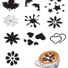 Set 10 modele plastic pentru decorare cappuccino si mini-torturi