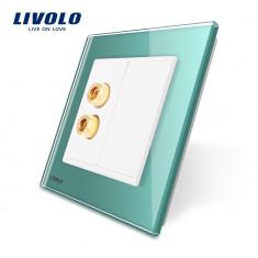 Priza redare sunet LIVOLO cu rama din sticla, Verde
