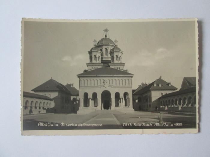 Carte postala foto Bach 1935 Alba Iulia-Biserica de incoronare,circulata 1939