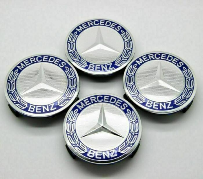 Set 4 Capace Mercedes Benz Blue Classic pentru Jante originale Mercedes-Benz