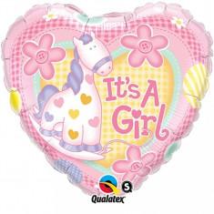 Balon botez folie 43cm Ponei Baby Girl