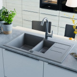 vidaXL Chiuvetă de bucătărie din granit, bazin dublu, gri