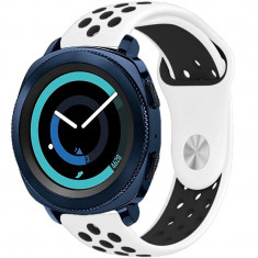 Curea ceas Smartwatch Samsung Gear S3, iUni 22 mm Silicon Sport White-Black
