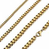Lanț auriu din oțel chirurgical, zale unghiulare, lucioase - Grosime: 2 mm, Lungime: 460 mm