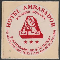 Romania anii '90, Hotel Ambasador vigneta nedantelata autocolanta