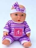 Jucarie Bebe cu bandana mov