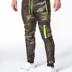 Pantaloni pentru barbati, camuflaj verde, stil militar, army, slim, cu banda, siret si buzunare - P658