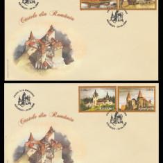 2008 Romania, 2 FDC Castele din Romania LP 1810, plicuri prima zi