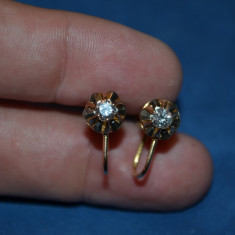 CERCEI AUR 18K + 2 Diamante X 0.25ct = 0.50ct - Stud cu surub - Vintage - 4g. !