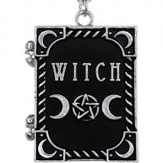 Pandantiv gotic pentru poza, locket, in forma de carte, Witch