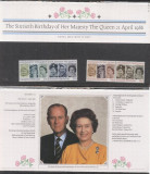 Great Britain 1986 Queen, Sixtith Birthday, booklet K.310