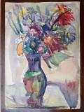 46 - Flori , natura statica, Acuarela veche , pictura