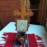 veche candela de lemn cu icoana litografiata Maria Maica Domnului