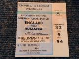 Bilet meci fotbal ANGLIA - ROMANIA (15.01.1969-meci amical)