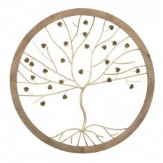 Decoratiune de perete din lemn si metal Albero Natural, Ø80xH5,5 cm