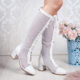 Cizme de vara dama perforate cu toc albe Braunia