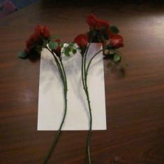 PVM - Fir plastic cu 3 flori (2 boboci) / trandafir perioada comunista