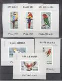 Ras al Khaima 1972 Birds Parrots 6 imperf. sheet with no. Mi.663-8 MNH DE.209, Nestampilat