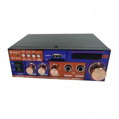 Amplificator digital tip statie, 2 x 20 W, Bluetooth, intrari USB, SD card, microfon, telecomanda