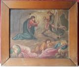 Scena biblica, pictura veche ulei pe panza