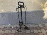 Suport german cu set de scule pentru semineu,din fier forjat,marime XXL