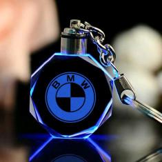 Breloc Led masina auto gravat cristal BMW