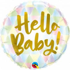 Balon Baby Shower Botez Hello Baby folie metalizata 43cm foto