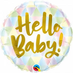 Balon Baby Shower Botez Hello Baby folie metalizata 43cm
