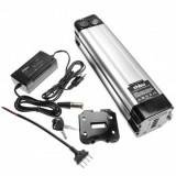 Baterie tub vhbw + încărcător pentru bicicletă electronică, Li-Ion, 48V, 8.8Ah, argintiu