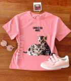 Tricou dama bumbac fin 100% roz cu imprimeu dragut PISICUTE