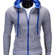 Hanorac pentru barbati gri albastru cu fermoar si gluga slim fit sport B485